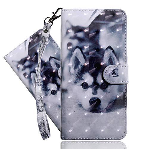 IMEIKONST Moto G9 Plus Funda PU Cuero 3D Effect Shell Magnetic Clasp Antigolpes Durable bookstyle Card Holder Cartera Soporte Flip Funda para Motorola Moto G9 Plus Cute Husky Bx