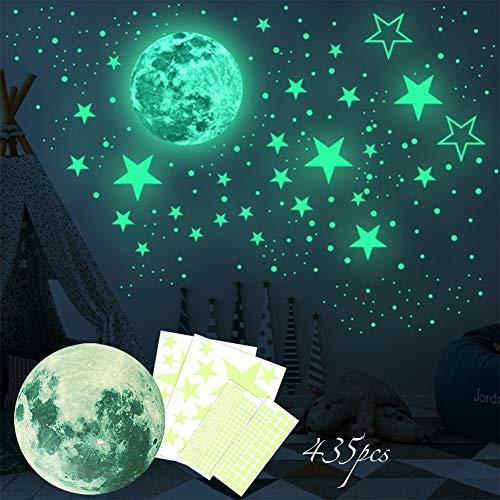 Vintree 435pcs Luminoso Pegatinas de Pared Puntos Luna y Estrellas Adhesivos Decorativo de Pared Fluorescentes Decoración habitación para Dormitorio de Niños Chico Niña Bebé Casa Interior Mural