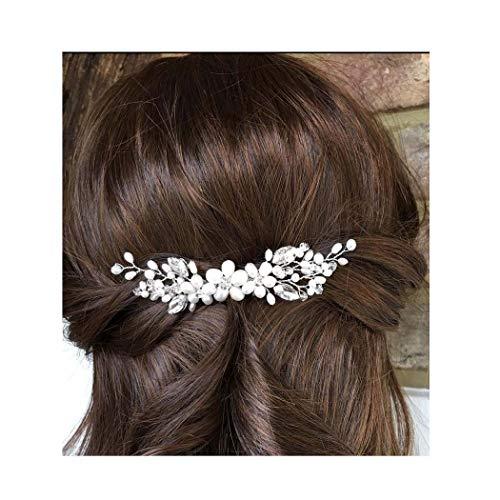 IYOU Bruids Bruiloft Haar Kammen Zilveren Parel Haarstukje Bloem Side Kammen Bruid Blad Haaraccessoires voor Vrouwen en Meisjes.