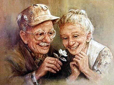 5D DIY diamante pintura pareja de ancianos Kit de punto de cruz taladro completo bordado de diamantes imagen de mosaico de dibujos animados de diamantes de imitación A1 60x80cm