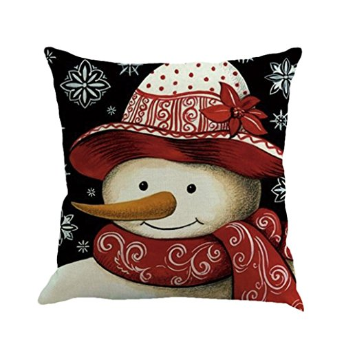 "Christmas Throw Pillow Case Cushion Covers Xmas Decorative Pillowcases, Staron Cotton Linen Christmas Snowman Pillows Cover Decorations Sofa Bed Home Decor, 18x18"" (E)"