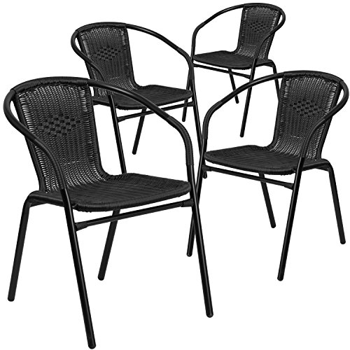 Flash Furniture 4 Pk. Black Rattan Indoor-Outdoor Restaurant Stack Chair, 4-TLH-037-BK-GG
