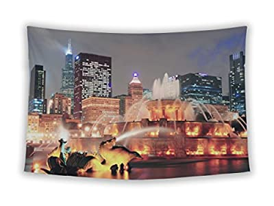 Gear New Wall Tapestry For Bedroom Hanging Art Decor College Dorm Bohemian, Chicago Skyline Skyscrapers Buckingham Fountain Grant Park Night