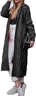 Ai.Moichien Sudadera con Capucha de Punto para Mujer Abrigo Largo Tipo cárdigan de Punto Grueso de Punto Torcido Jerséis