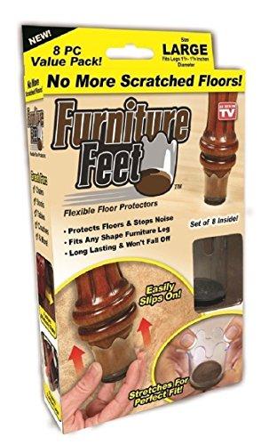 MOMSIV Furniture Feet Flexible Chair Leg Floor Protectors - Furniture Legs Protectors Clear Plastic Cups for Wood Floors Non Slip Slim Fit for Round Legs Diameter 1 4/8-1 7/8 in - Large (8 Pack)