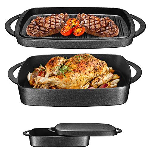 Bruntmor Pre-Seasoned Enameled Square Cast Iron Large Baking Pan. Cookware Baking Dish With Griddle Lid 2-in-1 and Double Handle for Casseroles Lasagna, 10-inch Multi Baker for Oven and Stove, Black