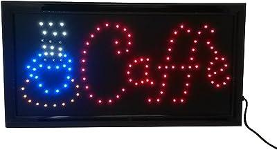 cucuba® Señal luminosa a LED con texto Caffe '48x 25x 2cm–idea regalo