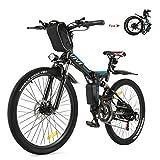 Vivi Bicicleta Eléctrica Plegable, 26' Bicicleta Montaña Adulto, Bicicleta Electrica Montaña, 350W Bicicletas Eléctricas con Batería Extraíble De 8Ah, Profesional 21 Velocidades, Doble Suspension