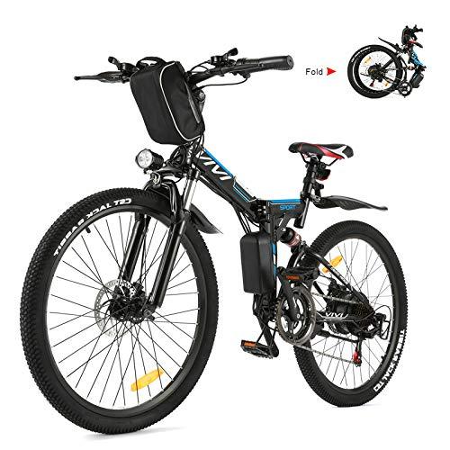 Vivi E-Bike Mountainbike Elektrofahrrad, 26'' Ebike Klapprad Für Herren und Damen 350W Elektrisches Fahrrad Mit Herausnehmbarer 8Ah Batterie, Professionelle 21-Gang-gänge, Vollfederun