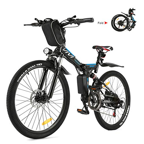 Vivi E-Bike Herren Damen, 26 Zoll E-Bike Klapprad Mountainbike 32KM/H Elektrofahrrad Mit Herausnehmbarer 36V 8Ah Batterie, Professionelle 21-Gang-gänge, Vollfederung