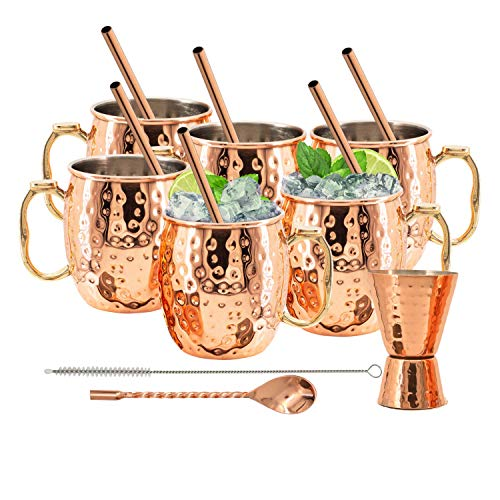Kitchen Science Moscow Mule Stainless Steel Lined Copper Mugs Set of 6 (18oz) w/ 6 Straws, 1 Jigger, 1 Spoon & 1 Brush | New Thumb Rest, Tarnish-Resistant Steel Interior & Lacquered Copper Exterior