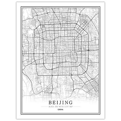 ZSHSCL kunstdruk op canvas, creatief, zwart en wit, China, Beijing City Map zonder lijst, kunstdruk, foto-posters, kerstcadeau, voor woonkamer, restaurant, ontvangst, decoratie 60x90cm No Frame