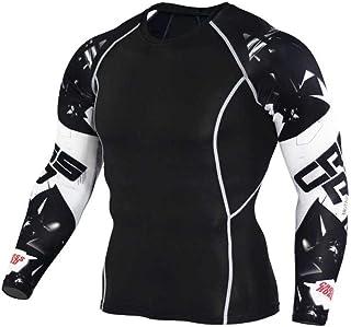 Black Compression Shirt Mens Slim Long Sleeve Dri Fit Undershirt