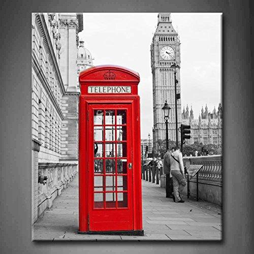 First Wall Art - Londres Cuadros en Lienzo Cabina Telefónica y Big Ben Decoracion de Pared 24x20inch Modernos Vista de la Ciudad en Blanco y Negro Mural Fotos para Salon,Dormitorio,Baño,Comedor
