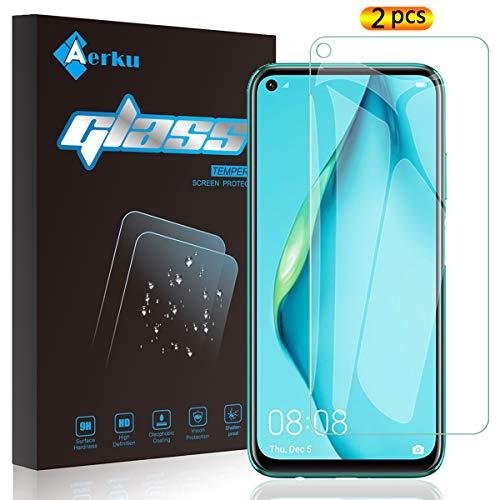 Aerku Tempered Glass Film for Huawei P40 Lite [2 Pieces], 2.5D Ultra Thin HD Anti Scratch Transparent Protective Film, Tempered Glass for Huawei P40 Lite (Transparent)