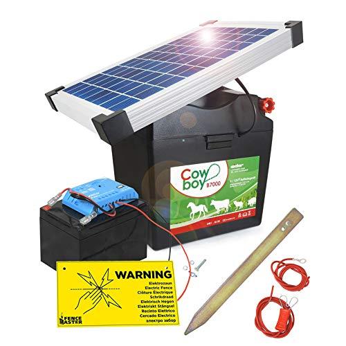 Koll Living Weidezaungerät Cowboy B7000 - mit 12V Akku & 10 Watt Solarmodul - nahezu wartungsfrei - Akku Wird über die Sonne wiederaufgeladen - Made in Germany