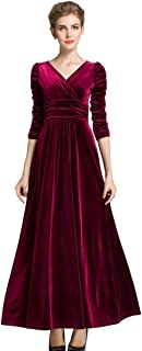 MedeShe Women's Christmas Long Sleeve V Neck Velvet Maxi Dress (18/20, Burgundy Ruched Waist)