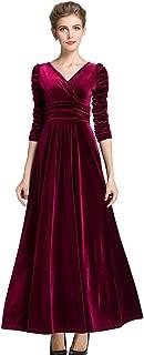 Women's Christmas Long Sleeve V Neck Velvet Maxi Dress