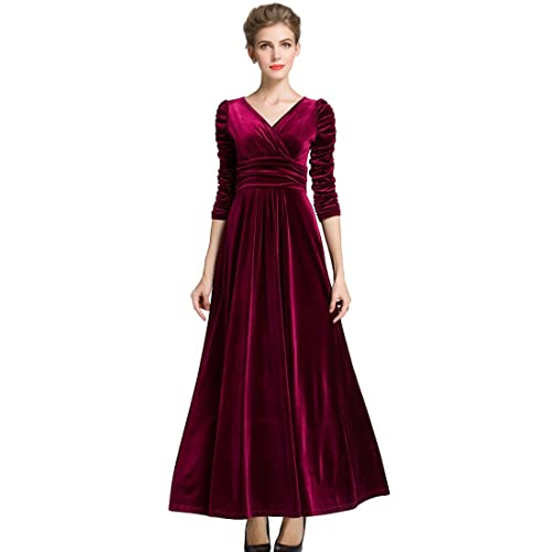 39156dc889b37 MedeShe Women's Christmas Long Sleeve V Neck Velvet Maxi Dress