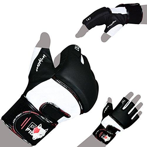 FOX-FIGHT TX7 MMA Handschuhe professionelle hochwertige Qualität Leder Boxhandschuhe Sandsack Freefight Training Sparring Muay Thai Kickbox Kampfsport BJJ Sandsackhandschuhe Gloves M schwarz/Weiss