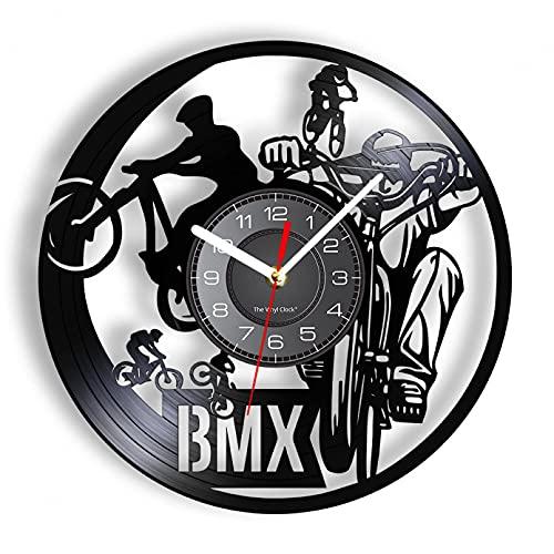 KDBWYC Bicicleta Reloj de Pared Moderno Extreme Riding Disco de Vinilo Obra de Arte Decoración de habitación de niño Adolescente Bicicleta Freestyle Reloj Retro Reloj sin LED