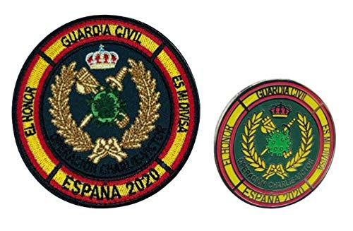 Gemelolandia | Pack Parche militar y Pin de Solapa Operación Balmis España Operación Militar 2020 25 mm | Broche Pin de traje Unidades Militares Españolas | Muy Adherentes | Patch Stickers