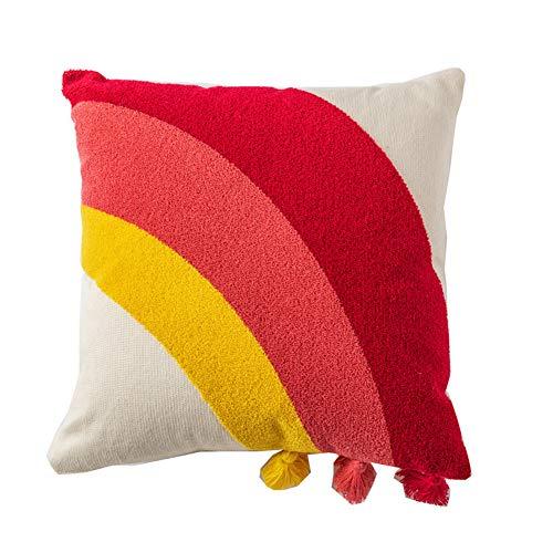 Ancoree 100% Algodón Fundas de Cojín Arco Iris con Borlas Rojo Amarillo Arco Patrón Almohada Cubiertas para Silla de Sofá Cama Color de Contraste Fundas Decorativas para Almohada (45cm x 45cm)