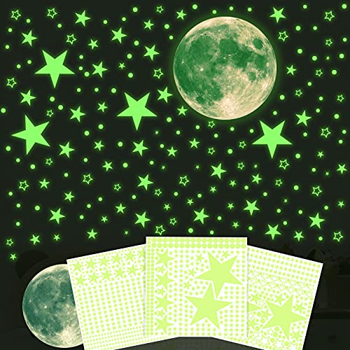 Glow in The Dark Stars Wall Stickers - 1028Pcs Fluorescent Stars for Ceiling & 11 Inch Glow in The Dark Moon Decal, Removable Luminous Kids Wall Decal for Bedroom, Best Gift for Birthday, Children's Day