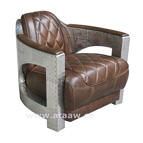 Ashoka Modern Club Chair aus hellbraunem Vollnarbenleder mit Aluminiumrahmen