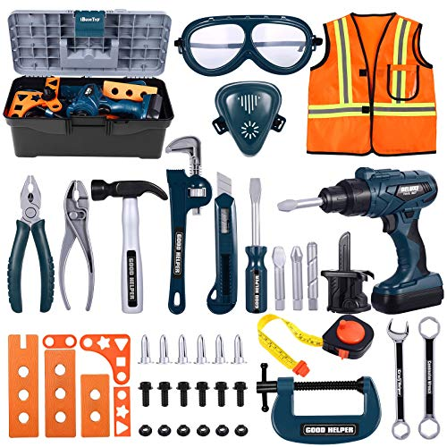 iBaseToy Kids Tool Box Set - 45 PCS Pretend Play Tool Toys for Toddler, Kids Electric Drill Tool Toys Kit with Working Overalls, Construction Tool Kit Playset Accessories Gift for Boys