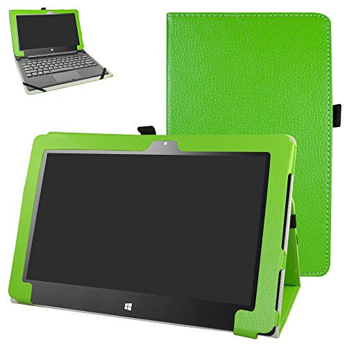 """Insignia Flex 11.6 NS-P11W6100 Case,Mama Mouth PU Leather Folio 2-Folding Stand Cover for 11.6"""" Insignia Flex 11.6 NS-P11W6100 Windows 10 Tablet,Green"""