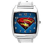 TAPORT® Reloj de cuarzo plateado correa de cuero cuadrado para los fans de Superman