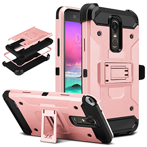 LG Stylo 3 Case, DONWELL 4 in 1 Hybrid Shockproof Holster Protective Case Cover with Built-in Kickstand and Belt Clip for LG Stylo 3 Plus/LG Stylus 3 / LS777 Boost 2017 Release (Rose Gold)