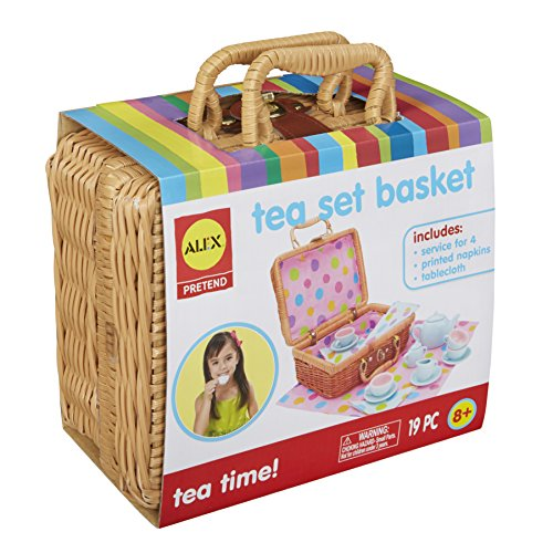 Alex Pretend & Play Tea Time Basket Kids Tea Set, 19 Piece