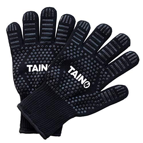 TAINO Grill-Handschuh 800 Grad hitzebeständig Ofenhandschuhe Kochhandschuh BBQ-Handschuhe Paar schwarz Universal-Größe