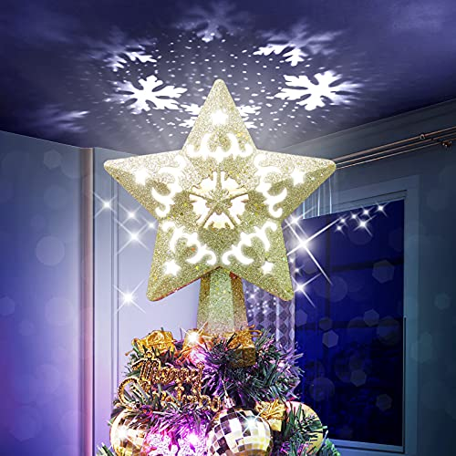 Christmas Tree Topper Lighted with White Snowflake Projector, LED Rotating Snowflake, 3D Glitter Lighted Sliver Snow Tree Topper for Christmas Tree Decorations (Gold)