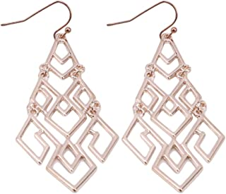 GloryMM Geometric Openwork Earrings Chandelier Shape Fishhook Earrings Women Ear Jewelry,Rose Gold