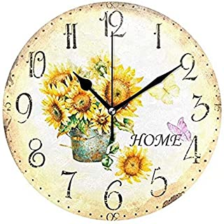 Wamika Round Wall Clock Vintage Sunflower Home Flowers Clock Silent Non Ticking Decorative,Daisy floral Butterfly Rustic Country Clocks 10 Inch Battery Operated Quartz Analog Quiet Desk Clock for Home