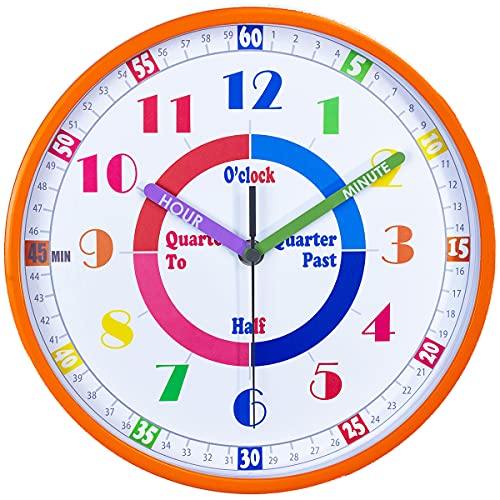 Telling Time Teaching Clock, Silent Movement, Educational Clock, Makes Kids Learning Time Faster and Fun. Its Perfect for Parents and Teachers, Decorate Kids Bedroom or Classroom,Orange is $19.77 (21% off)