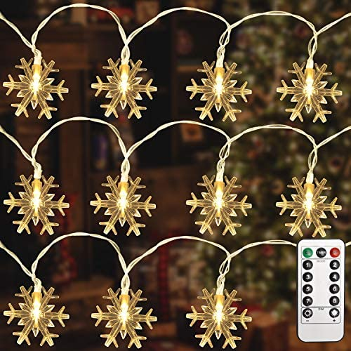 LOKASS Christmas Lights 26FT 40 LED Snowflake String Lights for Indoor Outdoor Decorations Waterproof product image
