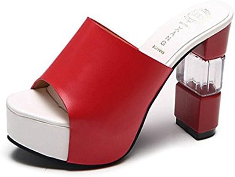 T-JULY Womens Ladies Fashion Wedge Platform Cowhide Chunky Heel Peep Toe Slide Sandals Slip on Comfy Dress Slipppers