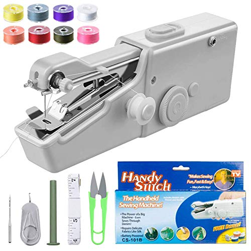 Handheld Sewing Machine,SLEPPGO Mini Hand-held Portable Cordless Quick Stitch Tool for Beginners Sewing Clothes Fabric, Clothing, DIY, Home Travel Use(White)