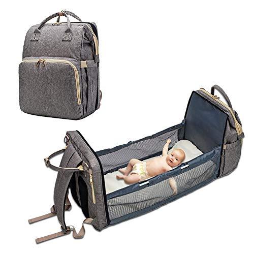 Bolso cambiador para bebé Cabrio ligero bolso cambiador cama con varios bolsillos, portátil para niños pequeños, bolsa de viaje multiusos Carrycot para cuna cambiador