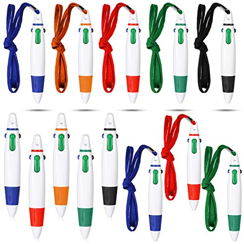 Retractable Neck Pens Neck Lanyard Shuttle Pen 4 Color Ink Ballpoint Pen with Chain for Nurses Students, Office School Home Supplies (15 Pieces)