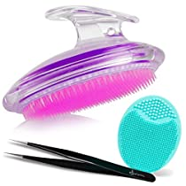 Exfoliating Brush For Razor Bumps and Ingrown Hair Treatment, Precision Tweezers, Silicone Face Scrubbers Set - Perfect for Dry Brushing, Body Brush by Dylonic