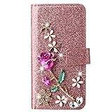 Blllue Funda tipo cartera compatible con Xiaomi Redmi Note 8 Pro, Glitter Bling Rose Flower Diamond Pu Funda de cuero Flip Phone Cover para Redmi Note 8 Pro - Rosegold