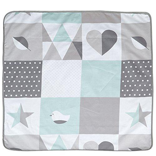 roba Babydecke 'Happy Patch', Decke zum Kuscheln, Krabbeln & Spielen, 2 seitig f, 2 Funktionen: 1x super weich, warm & flauschig, 1x 100% Baumwolle