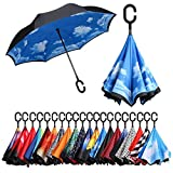 Eono by Amazon - Double Layer Inverted Umbrellas Reverse Folding Umbrella Self-Standing Windproof