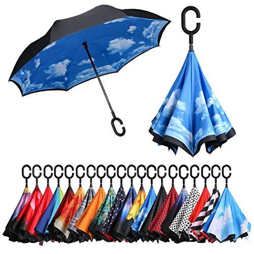 Eono by Amazon - Inverted Stockschirme, Winddicht Regenschirm, Reverse Stockschirme mit C Griff, Selbst Stehend, Double Layer, Schützen vor Sturm Wind, Regen und UV-Strahlung, Himmel
