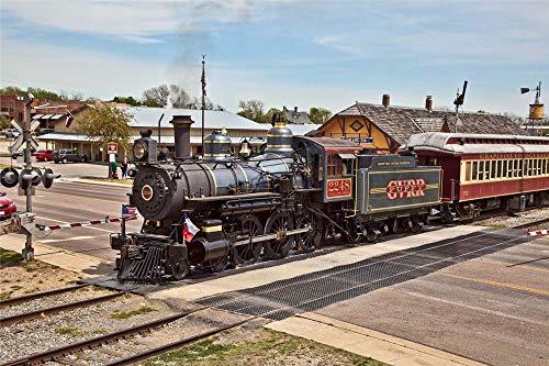 YANCONG Wooden Jigsaw Puzzles, 500 Piezas, Tren Locomotora De Vapor En Ferrocarril